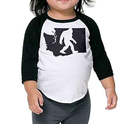 (JHDKDGH-N Washington State Bigfoot Children Long Sleeve Tshirts for 2-6 Years Old Baby)