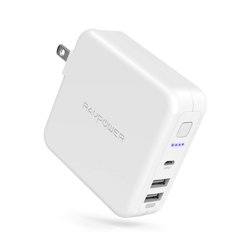 AC Portable Charger, RAVPower 6700mAh External Battery Packs with Dual USB Wall Charger, Universal Travel Charger Compatible with iPhone, iPad, Android, Galaxy S9 US-RP-PB125