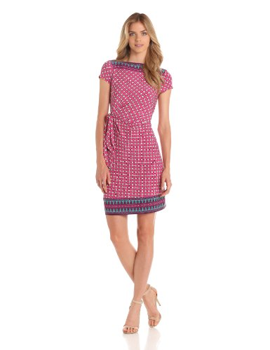 Donna Morgan Women's Elbow Sleeve Mock Wrap Dress, Magenta/Multi, 6