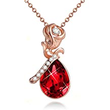 """""""Kiss From A Rose'' 12 Months Created Birthstone Rose Flower Pendant Necklace - Valentine's Day Gifts"""