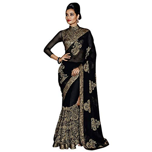 (Craftsvilla Women's Georgette Embroidered Designer Black Saree with Blouse Piece)