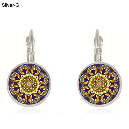 Opeof Earrings Fashion Mandala Flower Circular Round Bronze Faux Gem Leaverback Clip Earrings - Silver G