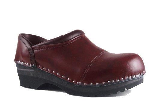 (Troentorp Women's Båstad Steel Toe Picasso Black Cherry Leather Clogs 38 EU)