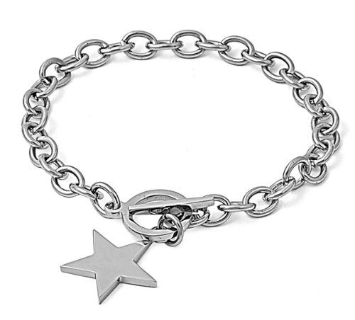 Tiffany Star Bracelet (Designer Inspired STAR CHARM Stainless Steel Silver Link Chain Bracelet Toggle LockCustomize Length 6-8in