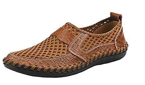 Forucreate Men's Brown Loafers Comfortable Walking Shoes Mesh Driving Shoes (Brown 47)