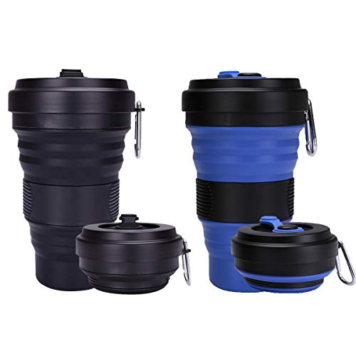 Trgowaul Collapsible Travel Cups - 2 Pack Silicone Folding Camping Cup Sport Bottle with Lids - Expandable Scald-Proof Drinking Cup - 19 OZ Portable Bottle(Blue and Black)