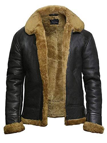 Mens Leather Bomber Jacket Genuine B3 Shearling Aviator Flying Jacket