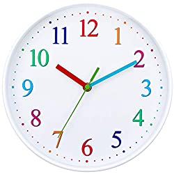 Wise Hedgehog Kids Wall Clock - Silent Non Ticking White Colorful Battery Operated Clock, Easy to Read for Kids, Perfect Room & Wall Decor for School Classrooms, Nursery, Playrooms and Bedroom