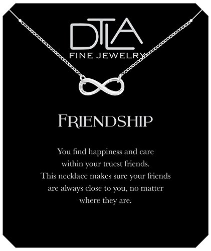 DTLA Friendship Infinity Necklace in Sterling Silver with Inspirational Quote Card - Silver