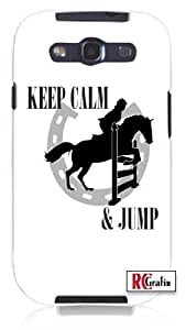 Keep Calm And Jump Horse Equestrian Unique Quality Hard Snap On Case for Samsung Galaxy Note 2 Note II N7100 (WHITE)
