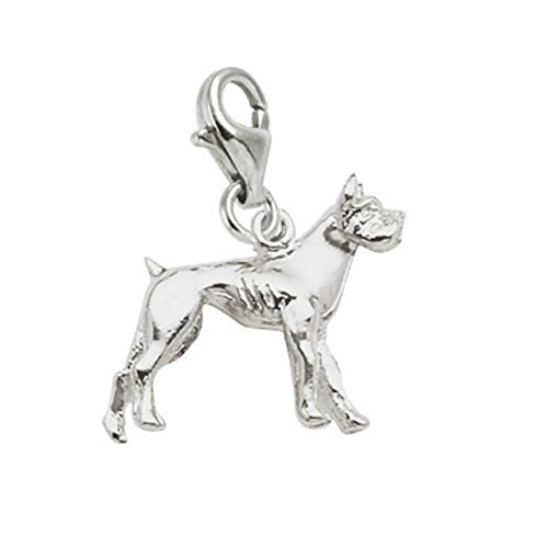 14k White Gold Boxer Dog Charm With Lobster Claw Clasp, Charms for Bracelets and (White Gold Boxer Dog)
