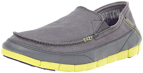 Crocs Stretch Sole Loafer, Mocasines para Hombre Nero (Charcoal/Citrus)