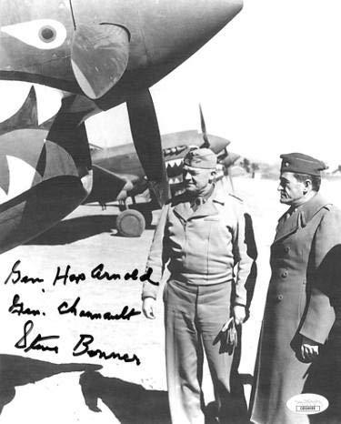 Stephen Bonner signed WWII Flying Tigers Ace Pilot 23rd FG China Vintage B&W 8x10 Photo Gen Hap Arnold Gen Chennault- DD64488 - JSA Certified ()