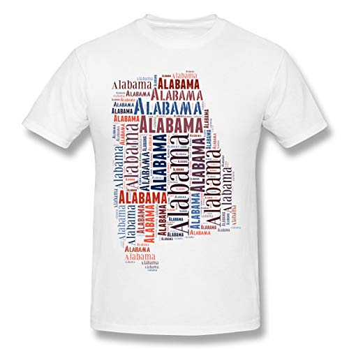 Xinjinhon Men's State Map Alabama AL Word Cloud Short-Sleeve Crewneck Lightweight Casual T-Shirt Tee White ()