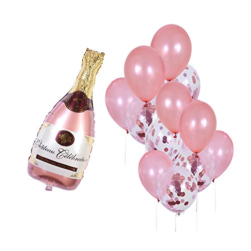 Rose Gold Champagne Bottle Wine Mylar Balloons Party Decoration Kit Valentine's Day Bridal Shower Wedding Bachelorette Celebration Anniversary Party Decorations -