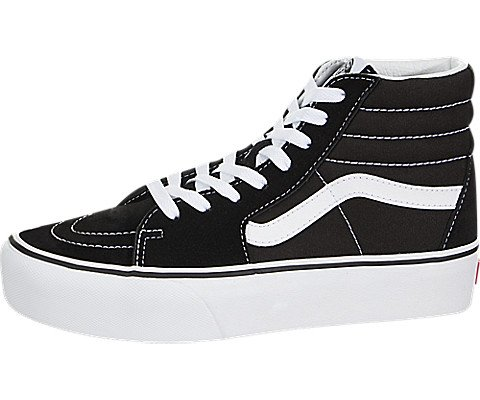 5054f9f182 Galleon - Vans Mens SK8 HI Platform 2.0 Black True White Size 5.5