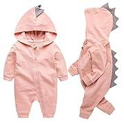 Newborn Baby Boys Girls Cartoon Dinosaur Hoodie Romper Onesies Jumpsuit Outfits Size 0-3Months/59 (Pink)