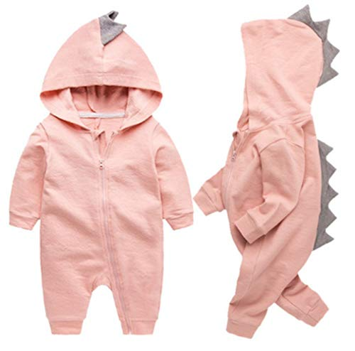 Newborn Baby Boys Girls Cartoon Dinosaur Hoodie Romper Onesies Jumpsuit Outfits Size 0-3Months/59 (Pink) -