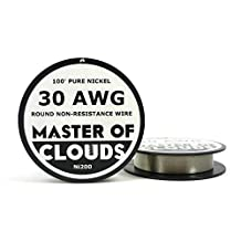 Ni200 - 100 ft 30 Gauge AWG Pure Nickel 200 Non Resistance Wire 0.254mm 30g 100' by Master Of Clouds