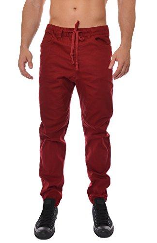 Wiz Mens Twill Harem Jogger Pants Regular Fit Comfortable Trousers Burgundy S Linen Cuffed Pant