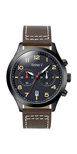 Men's Wrist Watch - Black Stainless Steel with Brown Genuine Leather Strap - Precision Chronograph, Japanese Quartz - Ryan Collection By Reina V