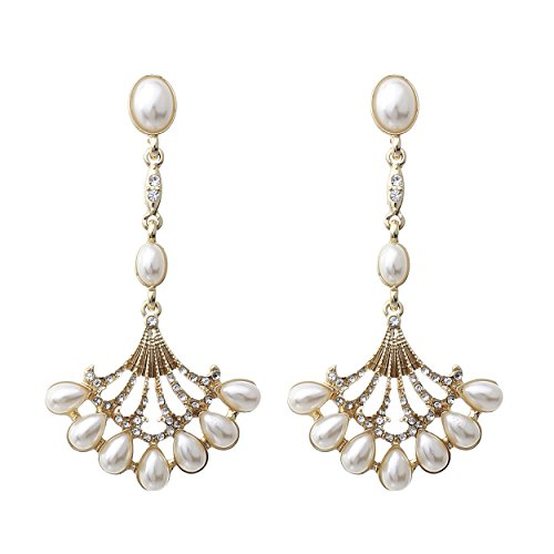 Rosemarie Collections Women's Faux Pearl Vintage Style Chandelier Dangle Earrings (Gold Tone)