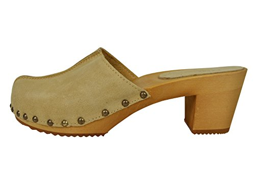 Buxa Ladies Natural Suede/Wooden High Heel Clogs with Stud Design Light Brown Suede G1telh