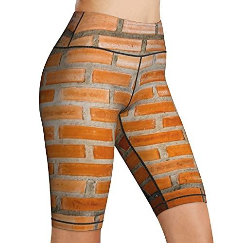 Inaayayi Hoge Taille Yoga Shorts Oranje Brickwall Bruin Bakstenen Texturen Oranje Baksteen Muur Vrouwen Biker Shorts…