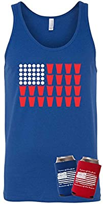 Beach Bum Tees Patriotic 4th of July US Beer Pong Flag Funny Tank Top T-Shirt with Koozie