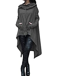 DOKER Women's Solid Color Loose Kangaroo Pockets Hooded Irregular Long Sweater