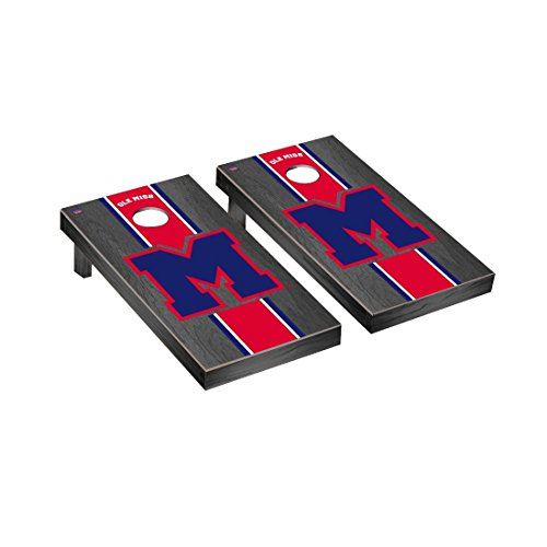 Victory Tailgate College Vault Mississippi Ole Miss Rebels Regulation Cornhole Game Set Onyx Stained Stripe Version