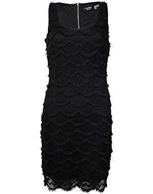 Guess Women's Sleeveless Scalloped Fringed Crochet Dress