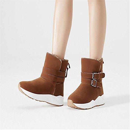 Femme Hiver Suede Tube bas Fond épais Antidérapant Bottes de neige Garde au chaud Bottines / Chaussures en coton , Brown , 36
