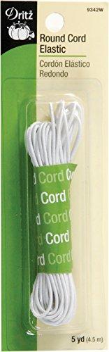 Necklace Round Rubber (Dritz 9342W Round Cord Elastic, White, 5-Yard)