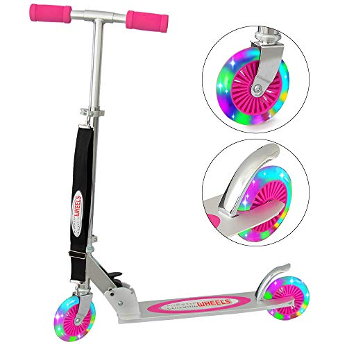 ChromeWheels Kick Scooter for Kids, Deluxe 4 Adjustable Height 2 Wheels with LED Flashing Light, for Age 5 up Kids, 132lb Weight Limit, Pink ()