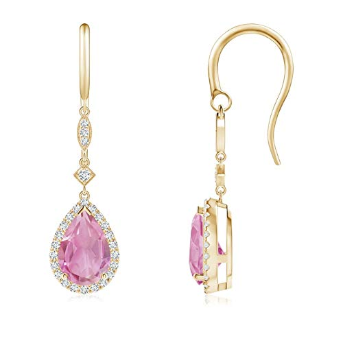 Pear-Shaped Pink Tourmaline Drop Earrings with Diamond Halo in 14K Yellow Gold (9x6mm Pink Tourmaline)