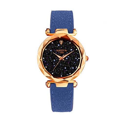 (Amaping Shiny Dial Plate Starry Sky Pattern Women Stylish Wrist Watch Leather Strap Multi Edge Cutting Glittering Watch (Blue))