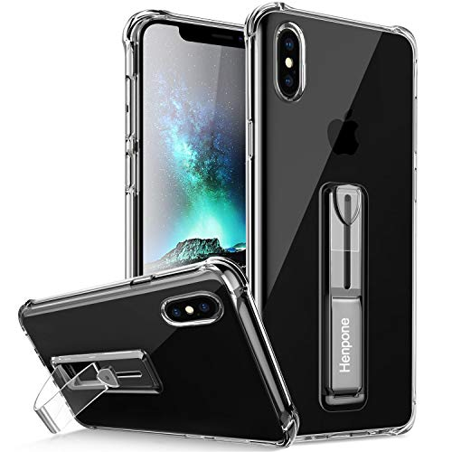 Henpone Clear iPhone Xs Max Case, Protective Phone Cover with Kickstand Ring Stand Holder Compatible for iPhone Xs Max 6.5