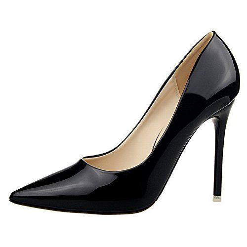 Amoonyfashion Kvinna Kick-häl Lackläder Pull-on Slutna Tå Pumpar-shoes Svarta