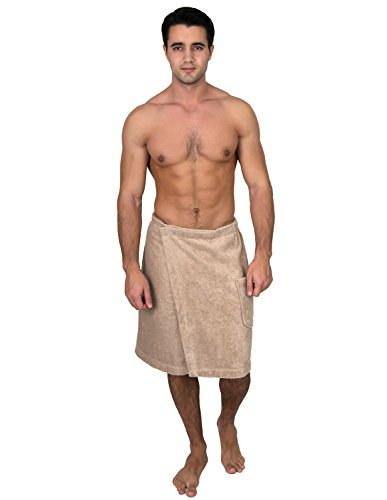 TowelSelections Men's Wrap, Shower & Bath Terry Towel with Snaps Large/XX-Large Light Taupe ()
