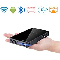 ENKLOV Protable Mini Projector,1080P WIFI Home Theater Pocket Pico Video Projector for Smartphone and Laptop,Support Bluetooth/HDMI/USB/TF Card/Wireless Display/Keystone Correction
