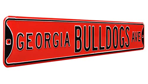 """Authentic Street Signs 70060 Georgia Bulldogs Ave, Heavy Duty, Steel Street Sign, Red, 36"""" x 6"""" from Authentic Street Signs"""