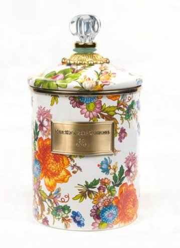 MacKenzie-Childs Flower Market Large Enamel Canister - White 5
