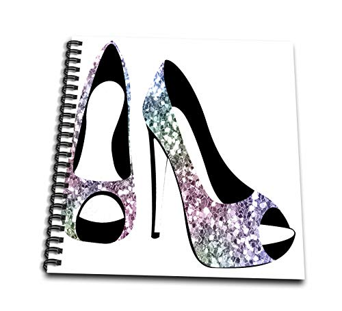 3dRose Anne Marie Baugh - Design - Chic Blue, Purple, and Aqua Image Of Chunky Glitter High Heel Shoes - Memory Book 12 x 12 inch - Heel Notepad High