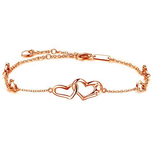 Sterling Silver Rose Bracelet - DESIMTION Anklet Sterling Silver Infinity Heart Foot Rose Gold Adjustable Anklets Ankle Bracelets for Women Gift for Mother's Day (D-Rose Gold Heart Anklets)