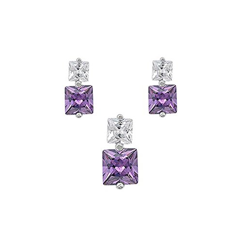 Sterling Silver Luxurious Amethyst Simulated Princess Cut Earrings and Pendant Set on Tension -