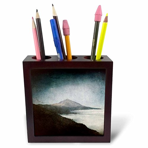 3dRose Uta Naumann Watercolor Landscapes - Landscape Mount Tide in Spain with Dust - Photoadaption - 5 inch tile pen holder (ph_263071_1) by 3dRose