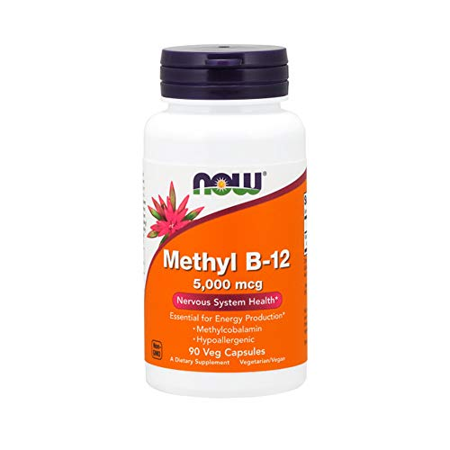Now Foods Hypoallergenic Methyl B-12 Veg Capsules, 5,000 Mcg, 90 Count