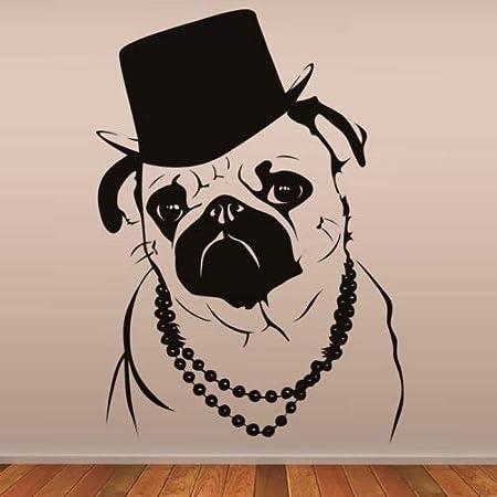 zxddzl Fresco Bulldog En Moda Sombrero Vinilo Arte Mural Animal ...