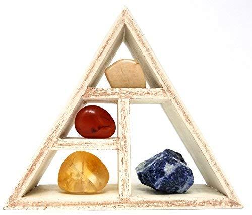 Capricorn Zodiac Crystal Healing Set/Tumbled Stones and Wooden Geometric Triangle Shelf in Gift Box/Astrology Sign Capricorn Birth Stones